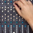 Hand on Mixing Desk — Stock Photo