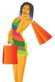 Donne con borse della spesa — Vettoriale Stock