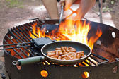 Cooking over Campfire — Stock Photo