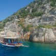 Bay in mediterranean sea with old yacht in the Kekova. Turkey. — Stock Photo