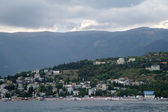 Scenic summer panorama of Black Sea pier — Стоковое фото