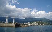 Panorama of Black Sea pier and port harbor in Yalta, Crimea, Ukraine — Stok fotoğraf