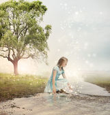 Girl at a Magical Brook — Stock Photo