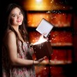 Girl Opening a Gift Box — Photo