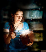 Young Woman Opening a Gift Box — Stock Photo