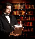 Man Opening a Gift Box — Stock Photo