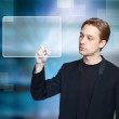 Stock Photo: Man pressing modern touch screen button
