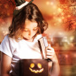 Halloween Cute Little Witch with Box — Stock Photo #12645461