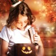 Stock Photo: Halloween Cute Little Witch with Box