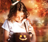 Halloween Cute Little Witch with Box — Stock Photo
