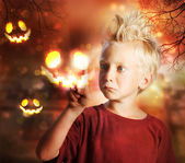 Boy Touching Halloween Ghost — Stock Photo