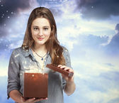Beautiful Woman Opening a Gift Box — Stock Photo