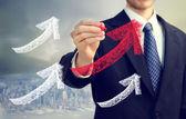 Desenho setas ascendente de empresário — Foto Stock