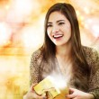 Stock Photo: Girl Opening Gift Box