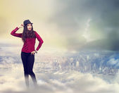 Happy Woman Standing on the Clouds — Stock Photo