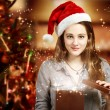 Girl Opening a Gift Box - Stock Photo