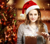 Girl Opening a Gift Box — Stock Photo