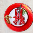 Holiday plates with silverware — Stok fotoğraf