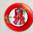 Holiday plates with silverware — Stockfoto