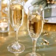 Champagne glasses on the dinner table — Stock Photo