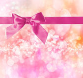 Pink Bow and Ribbon with Pink Bokeh Lights — Stock Photo