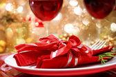 装飾クリスマスの夕食のテーブル — ストック写真