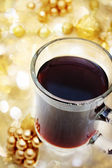 Cup of Coffee with Christmas Ornaments — Stock Photo