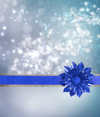 Blue Bow and Ribbon with Blue Lights — Stock fotografie