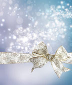 White Snowflake Bow and Ribbon — Stock Photo