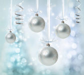 Hanging Silver Christmas Ornaments — Stock Photo