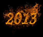 New Year 2013 text made of fire — Stock Photo