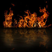 Fire with reflection — Stock Photo