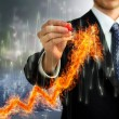 Foto Stock: Businessmwith Flaming Arrow