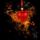 Fire Heart Bauble — Stock Photo