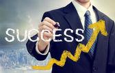 éxito de la escritura de empresario — Foto de Stock