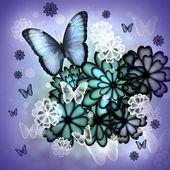 Ilustración de mariposas y flores — Foto de Stock