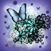 蝶と花のイラスト — ストック写真