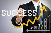 Homme d'affaires, rédaction de succès avec une flèche montante — Photo