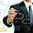 Foto Stock: Businessman with cloud computing themed pictures