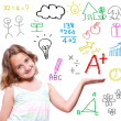 School girl with hand written school theme — Stock Photo #20309251