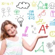 Stock Photo: School girl with hand written school theme