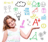 School girl with hand written school theme — Stock Photo