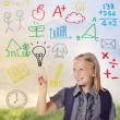 School girl with hand written school theme — Stock Photo