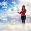 Happy Young Woman with Cloud Computing Concept — Stock Photo