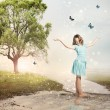 Girl with Blue Butterflies at a Magical Brook — Stock Photo