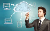 Cloud computing koncept — Stockfoto