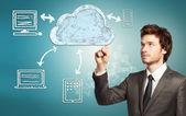 Conceito de computação em nuvem — Foto Stock