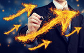 Man with Fiery Arrows — Stock Photo