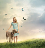 Young Girl with Her Dog — Stock Photo