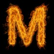 Flaming Letter M — Stock fotografie
